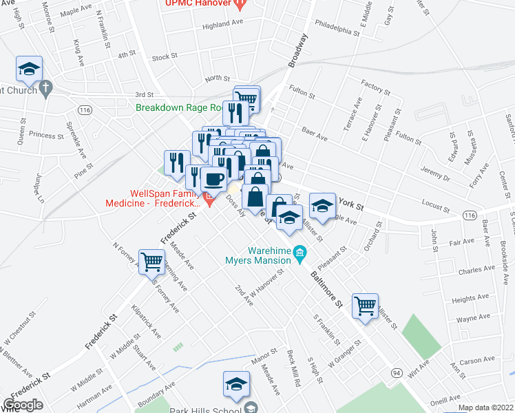 map of restaurants, bars, coffee shops, grocery stores, and more near 112 Baltimore Street in Hanover