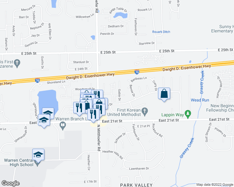 map of restaurants, bars, coffee shops, grocery stores, and more near 2302 Windsong Drive in Indianapolis