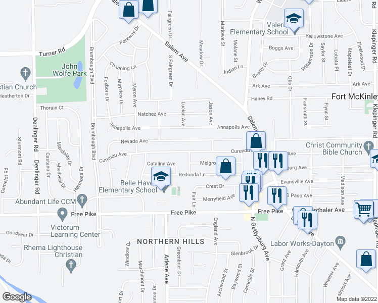 map of restaurants, bars, coffee shops, grocery stores, and more near Curundu Avenue in Dayton