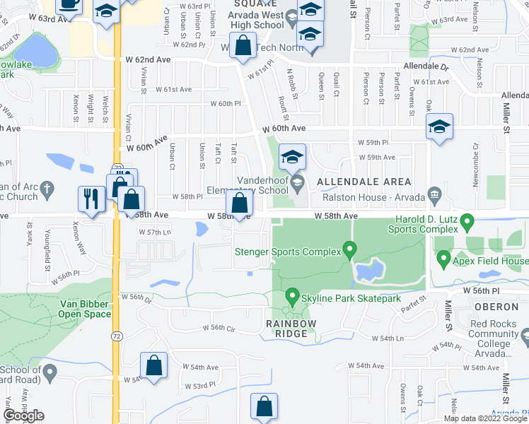 map of restaurants, bars, coffee shops, grocery stores, and more near 5705 Simms Street in Arvada