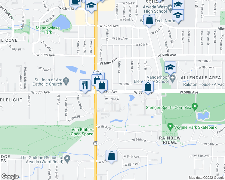 map of restaurants, bars, coffee shops, grocery stores, and more near 12150-12198 West 58th Place in Arvada
