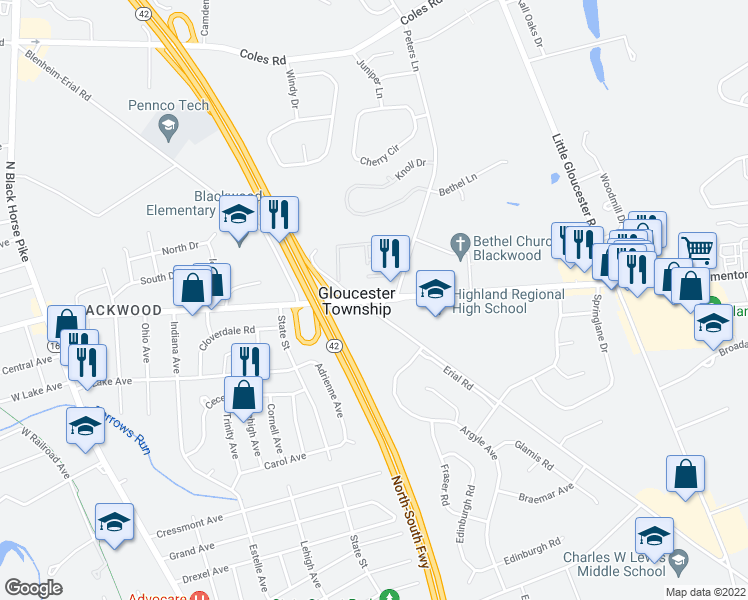 map of restaurants, bars, coffee shops, grocery stores, and more near 1650 Blackwood Clementon Road in Camden County
