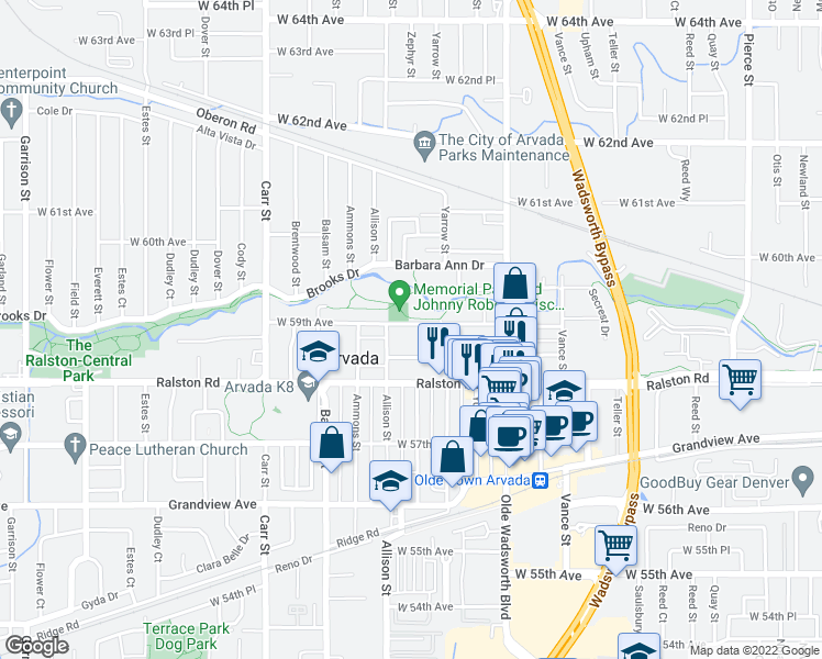 map of restaurants, bars, coffee shops, grocery stores, and more near 7840 West 59th Avenue in Arvada