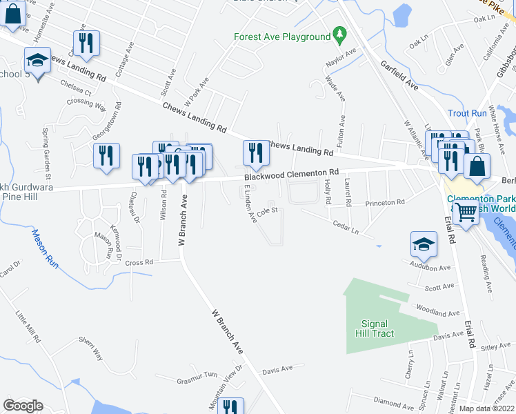 map of restaurants, bars, coffee shops, grocery stores, and more near 350 Blackwood Clementon Road in Pine Hill