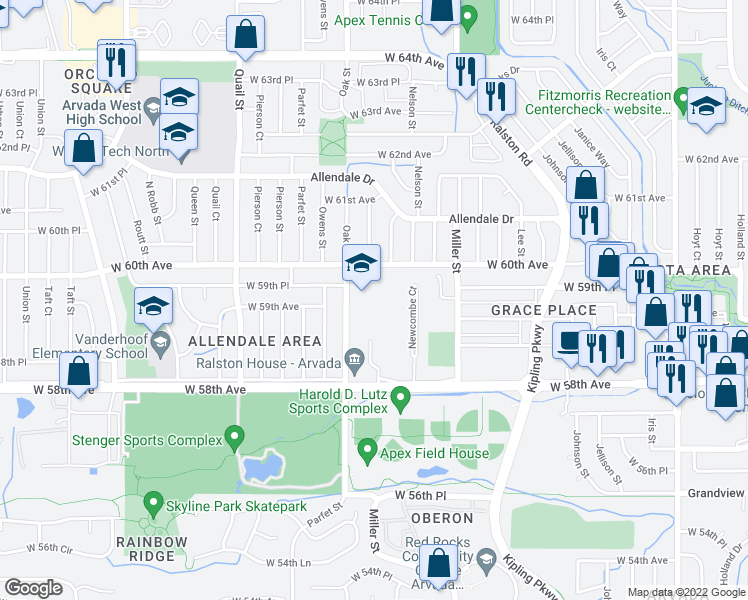 map of restaurants, bars, coffee shops, grocery stores, and more near 5890 Oak Street in Arvada