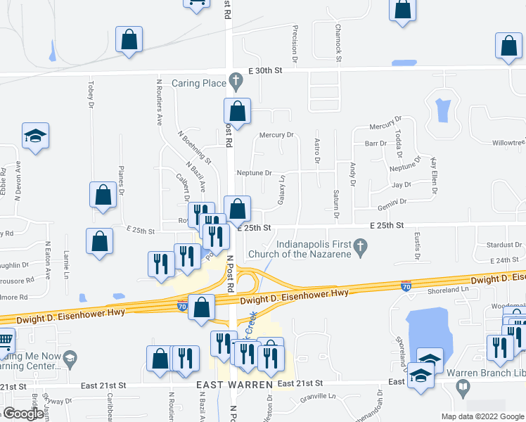 map of restaurants, bars, coffee shops, grocery stores, and more near Morning Star Drive in Indianapolis