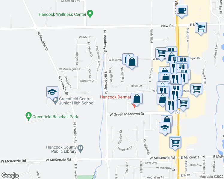 map of restaurants, bars, coffee shops, grocery stores, and more near 1650 Village Drive West in Greenfield