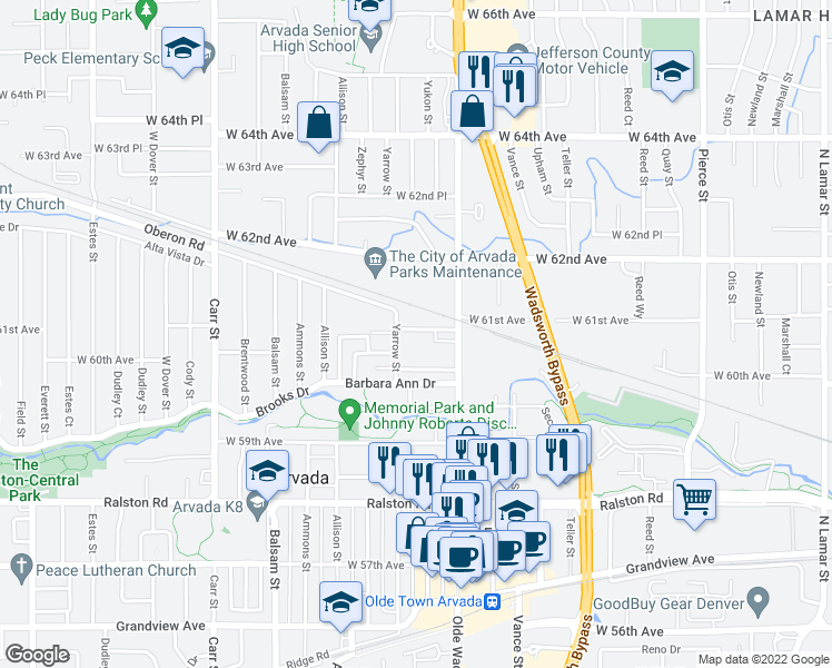 map of restaurants, bars, coffee shops, grocery stores, and more near 7700 West 61st Avenue in Arvada