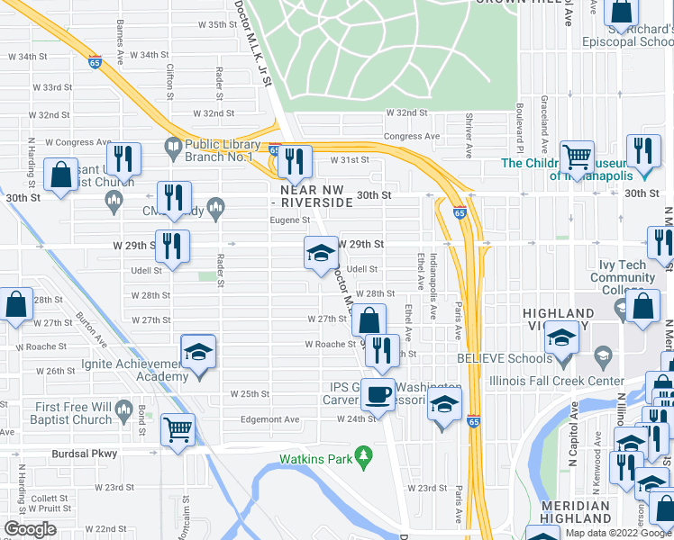 map of restaurants, bars, coffee shops, grocery stores, and more near 2809 Doctor Martin Luther King Junior Street in Indianapolis
