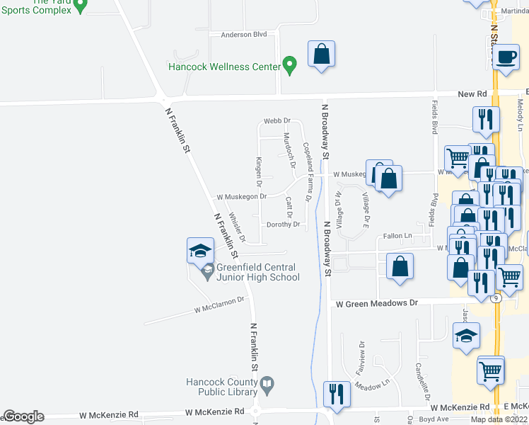map of restaurants, bars, coffee shops, grocery stores, and more near 1655 Kingen Drive in Greenfield