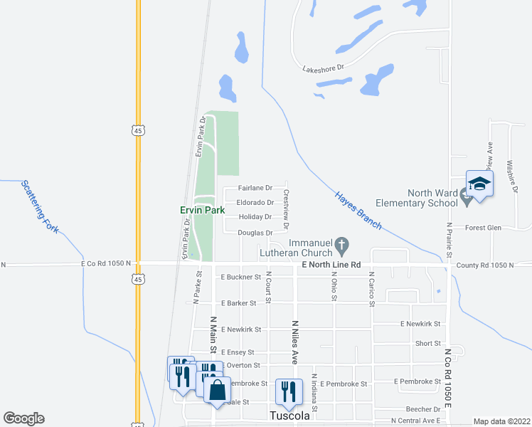 map of restaurants, bars, coffee shops, grocery stores, and more near 218 Holiday Drive in Tuscola