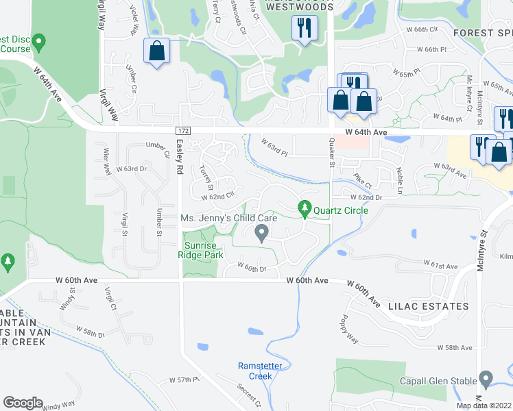 map of restaurants, bars, coffee shops, grocery stores, and more near 5758-5798 Ammons Street in Arvada