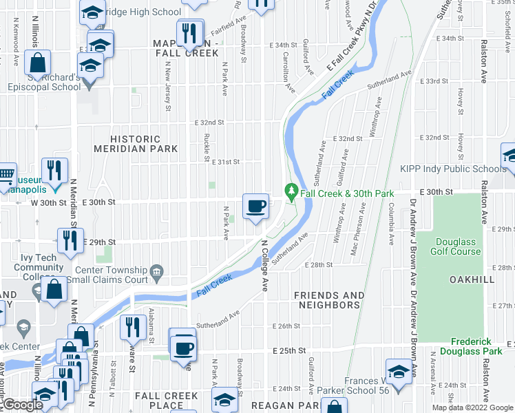 map of restaurants, bars, coffee shops, grocery stores, and more near 2976-2998 North College Avenue in Indianapolis