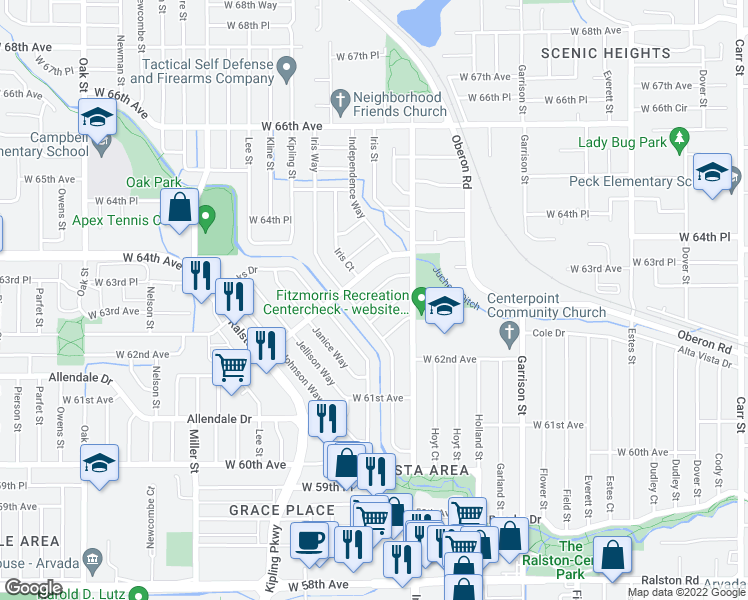 map of restaurants, bars, coffee shops, grocery stores, and more near 9662 West 63rd Place in Arvada