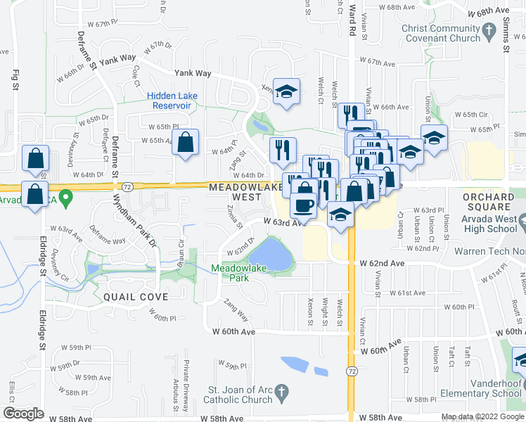 map of restaurants, bars, coffee shops, grocery stores, and more near 13015 West 63rd Circle in Arvada
