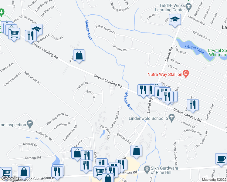 map of restaurants, bars, coffee shops, grocery stores, and more near 800 Chews Landing Road in Clementon