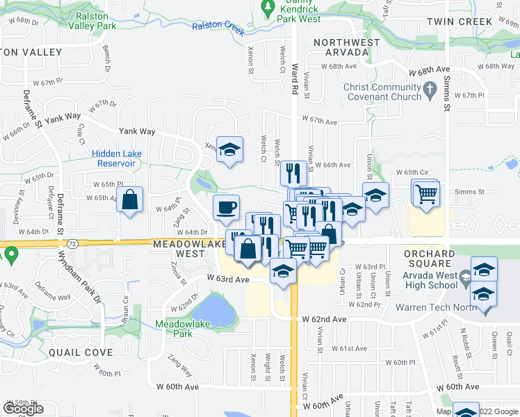 map of restaurants, bars, coffee shops, grocery stores, and more near 6480 Wright Street in Arvada