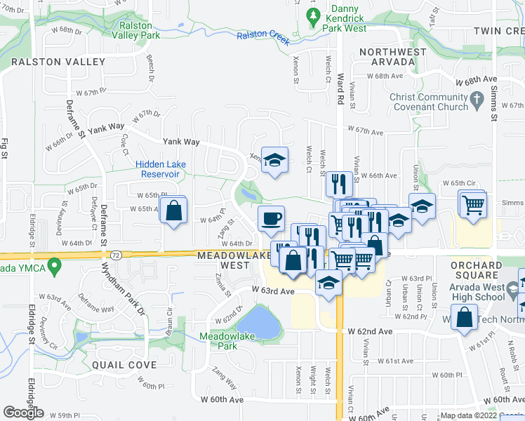 map of restaurants, bars, coffee shops, grocery stores, and more near 12810 West 65th Way in Arvada