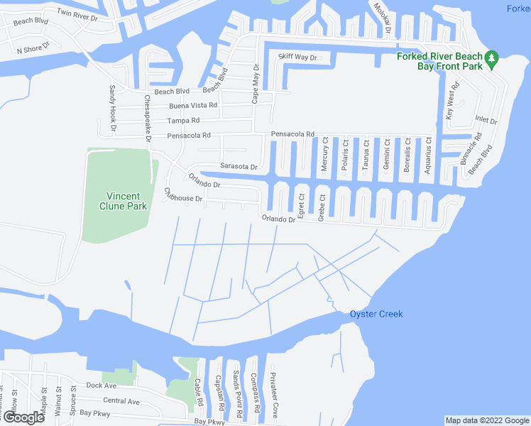 map of restaurants, bars, coffee shops, grocery stores, and more near 1034 Orlando Drive in Forked River