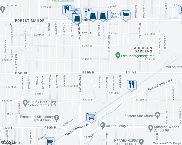 map of restaurants, bars, coffee shops, grocery stores, and more near 3414 North Leland Avenue in Indianapolis