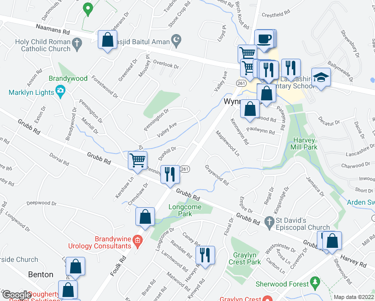map of restaurants, bars, coffee shops, grocery stores, and more near 2118 Foulk Road in Wilmington