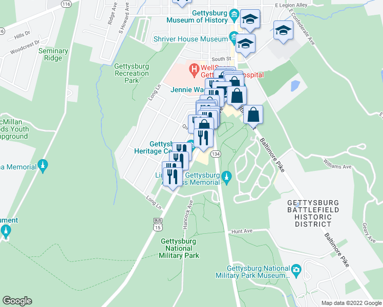 map of restaurants, bars, coffee shops, grocery stores, and more near 297 Steinwehr Avenue in Gettysburg