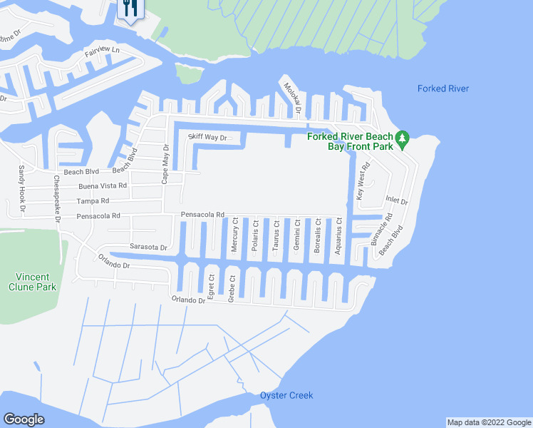 map of restaurants, bars, coffee shops, grocery stores, and more near Pensacola Road in Forked River