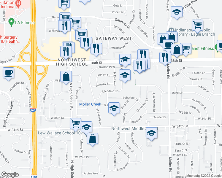 map of restaurants, bars, coffee shops, grocery stores, and more near 5910 Allendale Drive in Indianapolis
