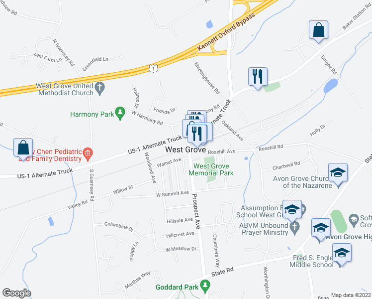 map of restaurants, bars, coffee shops, grocery stores, and more near in West Grove