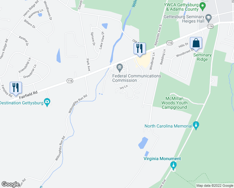 map of restaurants, bars, coffee shops, grocery stores, and more near 54 Ivy Lane in Gettysburg