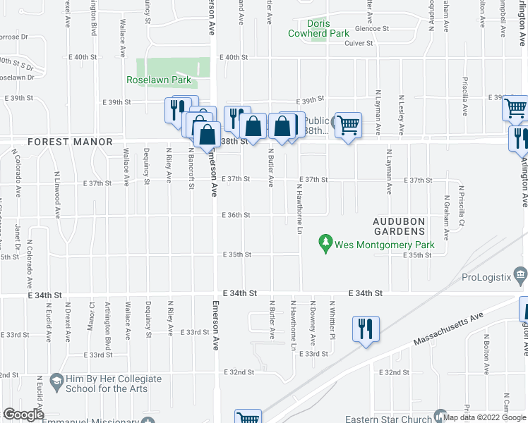 map of restaurants, bars, coffee shops, grocery stores, and more near 5150 East 36th Street in Indianapolis