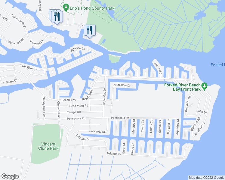 map of restaurants, bars, coffee shops, grocery stores, and more near 1115 Skiff Way Drive in Forked River
