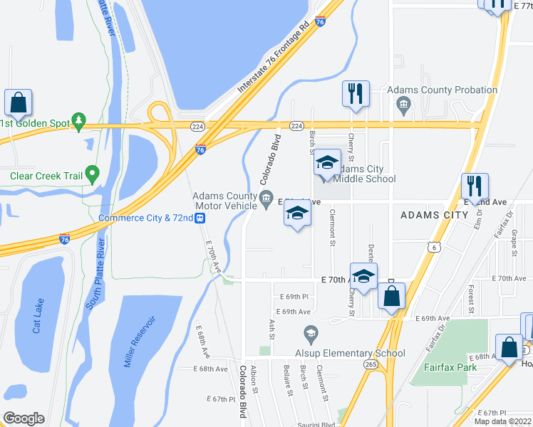 map of restaurants, bars, coffee shops, grocery stores, and more near 7190 Colorado Boulevard in Commerce City
