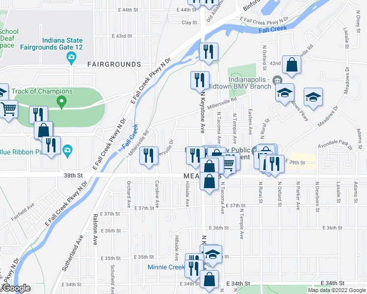 map of restaurants, bars, coffee shops, grocery stores, and more near 3906 Hillside Avenue in Indianapolis