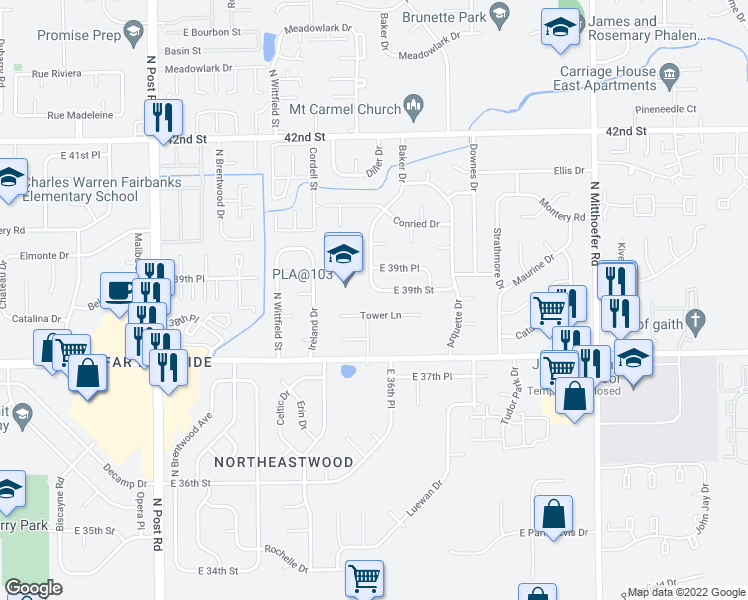 map of restaurants, bars, coffee shops, grocery stores, and more near 9501 East 39th Street in Indianapolis