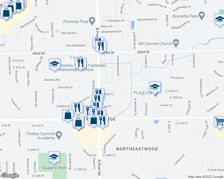 map of restaurants, bars, coffee shops, grocery stores, and more near 9060 East 39th Place in Indianapolis