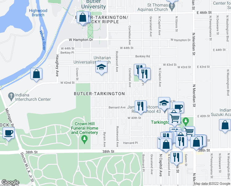 map of restaurants, bars, coffee shops, grocery stores, and more near 4110 Rookwood Avenue in Indianapolis