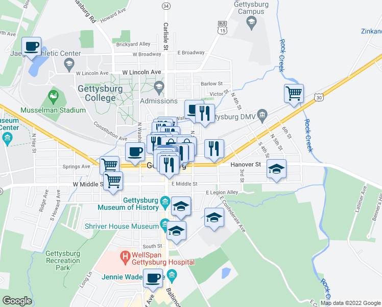 map of restaurants, bars, coffee shops, grocery stores, and more near 30 North Stratton Street in Gettysburg