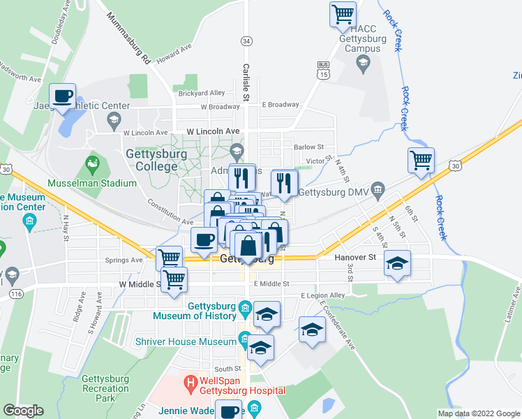 map of restaurants, bars, coffee shops, grocery stores, and more near 142 North Stratton Street in Gettysburg