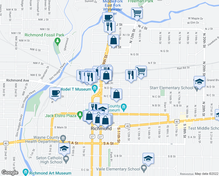 map of restaurants, bars, coffee shops, grocery stores, and more near N D St & N 10th St in Richmond