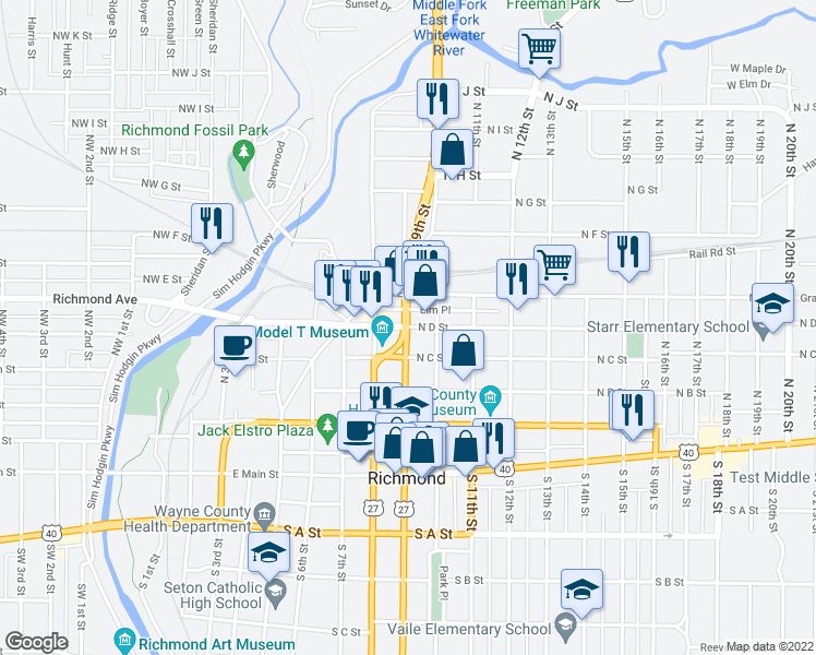 map of restaurants, bars, coffee shops, grocery stores, and more near North 9th Street in Richmond