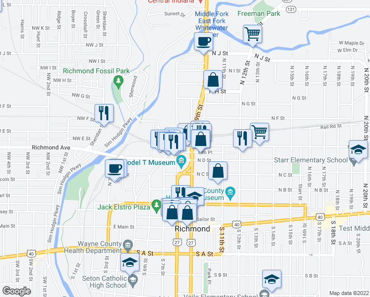 map of restaurants, bars, coffee shops, grocery stores, and more near 819 North E Street in Richmond