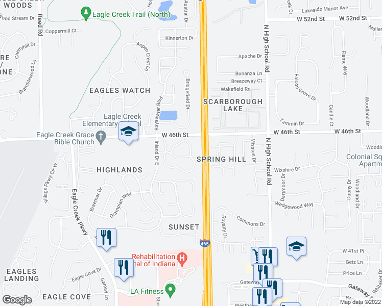 map of restaurants, bars, coffee shops, grocery stores, and more near 6600-6740 Eagle Pointe Drive North in Indianapolis