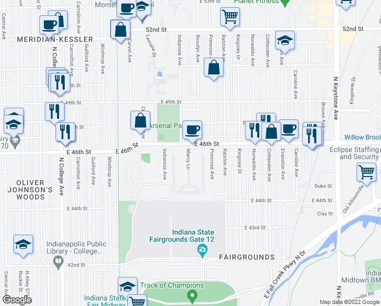 map of restaurants, bars, coffee shops, grocery stores, and more near 4555 Marcy Lane in Indianapolis