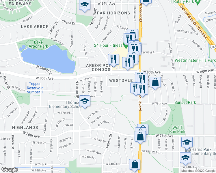 map of restaurants, bars, coffee shops, grocery stores, and more near 7975 Chase Circle in Arvada