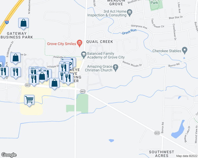 map of restaurants, bars, coffee shops, grocery stores, and more near 2487 Landings Way in Grove City