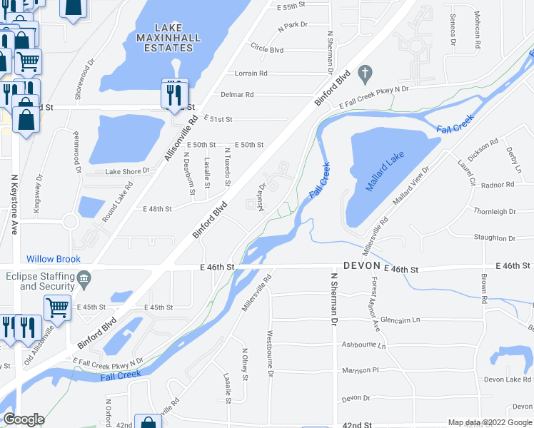 map of restaurants, bars, coffee shops, grocery stores, and more near 4700-4820 Alsuda Drive in Indianapolis