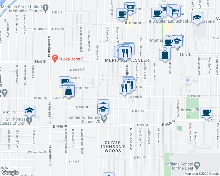 map of restaurants, bars, coffee shops, grocery stores, and more near 5019 North Park Avenue in Indianapolis