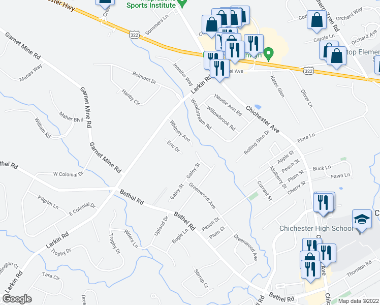 map of restaurants, bars, coffee shops, grocery stores, and more near 4415 Whitney Avenue in Boothwyn