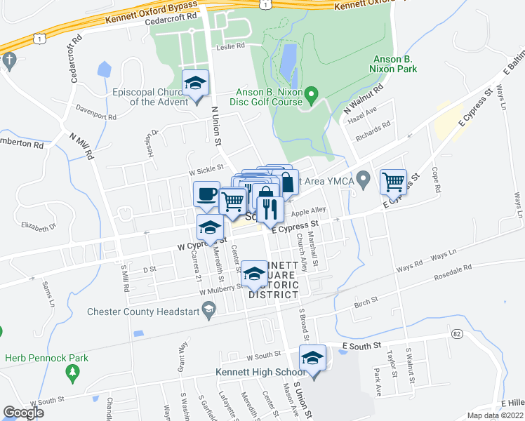 map of restaurants, bars, coffee shops, grocery stores, and more near 222 State Street in Kennett Square